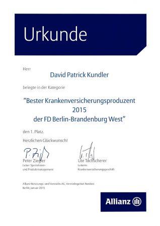 Urkunde Bester Krankenversicherungsproduzent 2015 der FD Berlin-Brandenburg West
