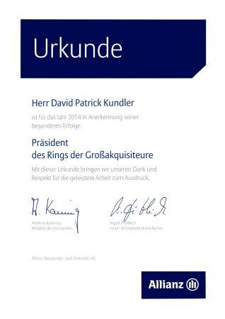 Allianz Versicherung Berlin Urkunde 2014 Präsident Großakquisiteure
