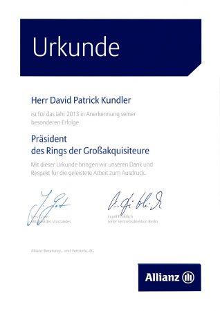 Urkunde Präsident Großakquisiteure 2013