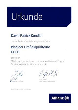Urkunde Großakquisiteure 2013