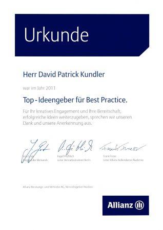 Urkunde Allianz Versicherug Top-Ideengeber für Best Practice