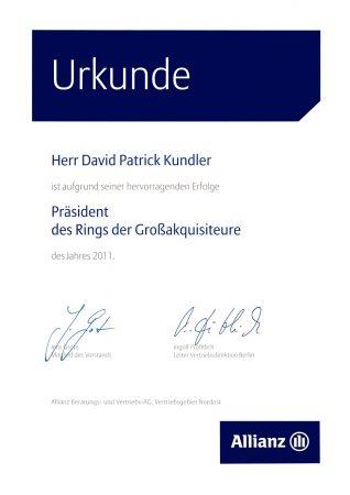 Urkunde Allianz Versicherung Präsident Rign Großakquisiteure 2011
