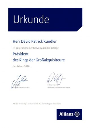 Urkunde Präsident Ring Großakquisiteure 2010