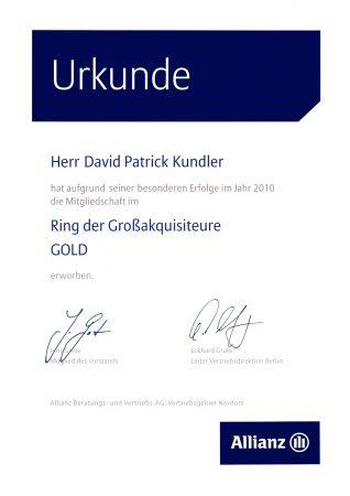 Urkunde Ring Großakquisiteure 2010