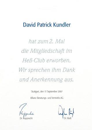 Urkunde Heß Club 2007