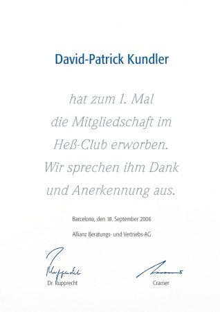 Urkunde Heß Club 2006