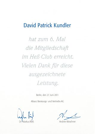 Urkunde Heß Club 2011