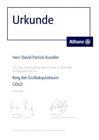Urkunde David Patrick Kundler Ring der Großakquisiteure Gold 2009