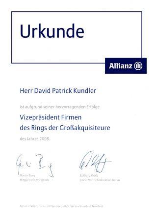 Urkunde Vizepräsident Großakquisiteure 2008