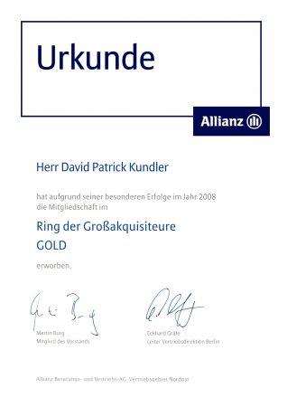 Urkunde Großakquisiteuere Allianz 2008 Gold