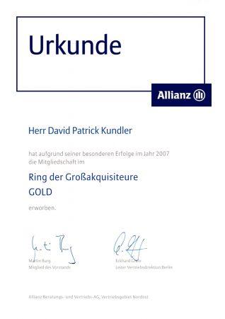 Urkunde Ring Großakquisiteure Gold