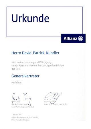 Urkunde Generalvertreter Allianz Versicherung