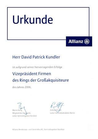 Urkunde Vizepräsident Ring Großakquisiteure
