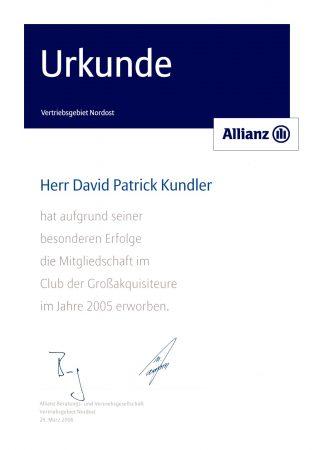Urkunde Club Großakquisiteure 2005