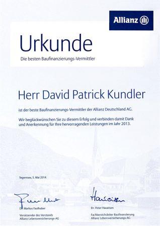 Urkunde Allianz Versicherung Baufinanzierung 2013