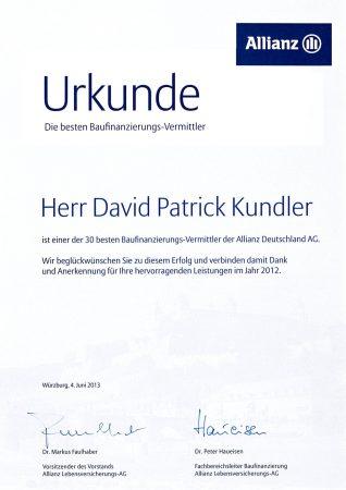 Urkunde Baufinanzierung 2012