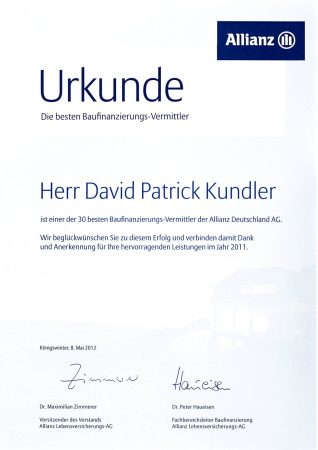 Urkunde Allianz Versicherung Baufinanzierung