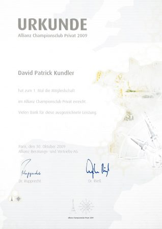 Urkunde Championsclub 2009