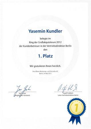 Urkunde Yasemin Kundler