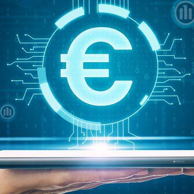 digitaler Euro mit € Zeichen und einem Tablett