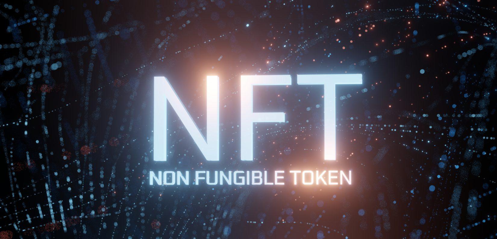 NFT Non Fungible Token Schriftzug leuchtend