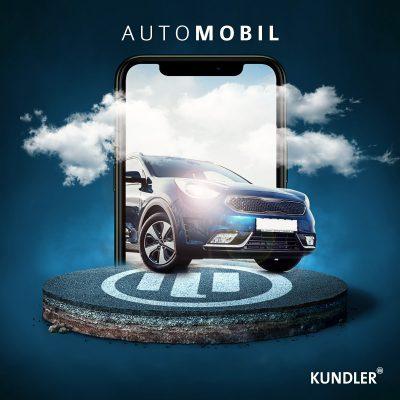 Fahrzeug im Mobiltelefon